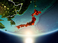 Japan with sun on planet Earth