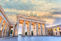 Berlin sunset city skyline at Brandenburg Gate (Brandenburger Tor), Berlin, Germany