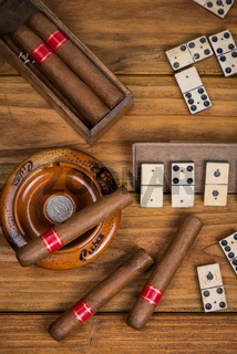 Cuban cigars and traditional domino game