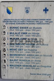 Gedenktafel für gefallene Polizisten im Bosnienkrieg, Bosnien
