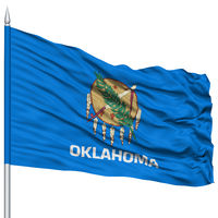 Isolated Oklahoma Flag on Flagpole, USA state