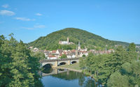 Blick auf Gemuenden am Main mit fraenkischer Saale,Spessart,Bayern,Deutschland