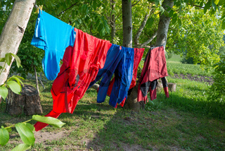 Clothes hanging on line in garden