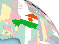 Flag of Niger on globe