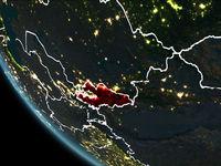 Satellite view of Kyrgyzstan at night