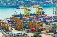 Loading ship. Singapore industrial port
