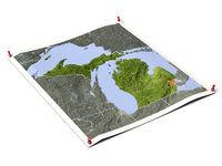 Michigan on unfolded map sheet.