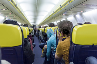 Interior of commercial airplane during flight.
