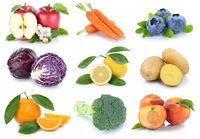 Obst und Gemüse Früchte Apfel Orange Karotten Möhren Pfirsich Beeren frische Collage Freisteller freigestellt isoliert