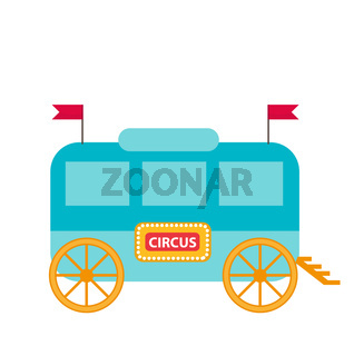 Circus trailer, wagon icon flat style , isolated on white background. Vector illustration.