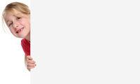 Kind Mädchen lachen Werbung Marketing Schild leer Textfreiraum Copyspace Freisteller