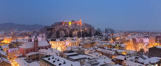 Aerial panoramic view of Ljubljana decorated for Christmas holidays, Slovenia, Europe.