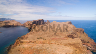 flying above Sao Lourenco peninsula, Madeira, aerial view