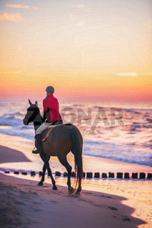 Woman Riding horse at sunset