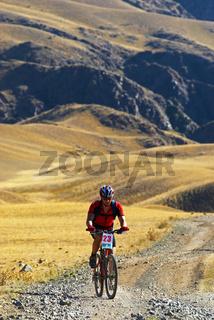 Mountain biker racing on old road in desert