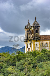 Ancient historical church high in mountains of Ouro Preto city