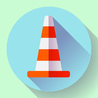 Traffic cone color icon. under construction symbol. Flat design style.