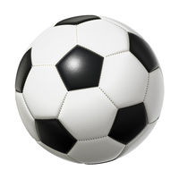 typical black and white soccer ball isolated on white background