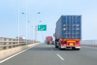 container trucks on bay bridge