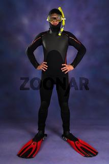 Underwater diver in studio