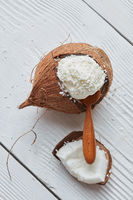 Delicious vanilla ice cream in coconut