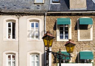 facades of urban houses in Boulogne-sur-Mer city