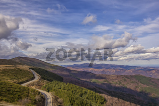 Mountain landscape. Scenic view of a mountain and mountain road from Beklemeto