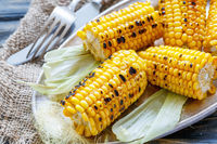 Grilled sweet corn with sea salt.