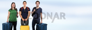 Gruppe junge Leute Menschen Urlaub Koffer Textfreiraum Copyspace Banner Gepäck Reise reisen verreisen jung