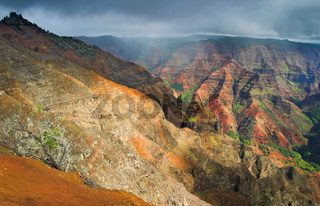 Aerial view into Waimea Canyon, also known as the Grand Canyon of the Pacific on the island of Kauai, Hawaii