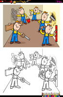 workers or builders characters group color book