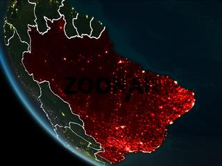 Satellite view of Brazil at night