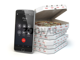 Mobile pizza ordering and delivery concept. Smartphone and pizza boxes.