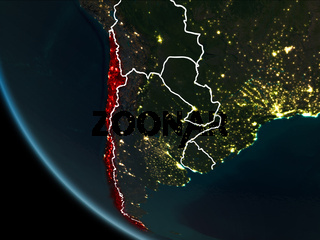 Satellite view of Chile at night