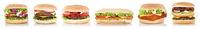 Hamburger Sammlung Cheeseburger Käse Freisteller freigestellt isoliert in einer Reihe