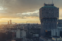 Milano, 2016 panoramic skyline with Italian Alps on Background