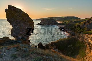 Bay Nefertiti at dawn. Karalar regional landscape park in Crimea.