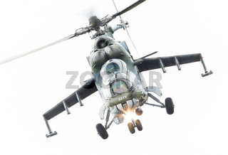 LEEUWARDEN, THE NETHERLANDS - JUN 10, 2016: Czech Republic Air Force Mil Mi-24 Hind attack helicopter performing a demonstration during the Royal Netherlands Air Force Days