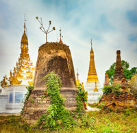 Sankar pagoda. Stupa on the foreground. Shan state. Myanmar. Panorama