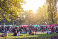 Thai food market / street food in public park (Preussenpark)   in Berlin