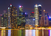 SIngapore skyline Downtown at night