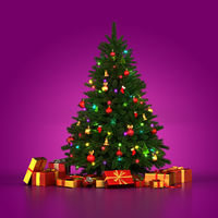 3d Rendering decorated Christmas tree