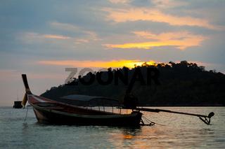 Longtail Boat Ko Lipe Coastline Cloudy Sunset Sky