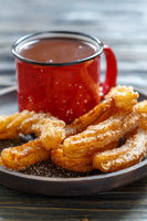 Traditional Spanish dish churros with chocolate.