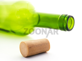 cork and empty wine bottle