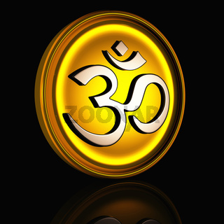 Golden OM sign Medallion on black background