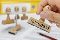 accepted printed on rubber stamp