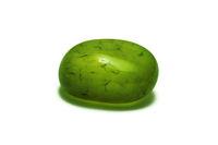 One beautiful green semi-precious stone isolated on white background macro