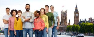 international group of happy people in london