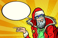 Hipster Santa Claus shows sideways and says comic cloud